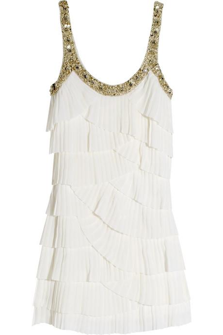 Къса бяла рокля на воланчета с презрамки с камъни Rachel Gilbert