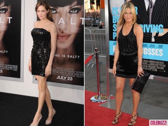 Анджелина Джоли и Дженифър Анистън с къси черни рокли