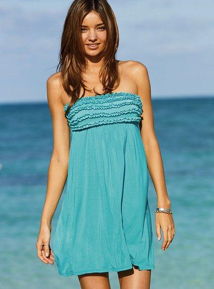 Къса синя плажна рокля без презрамки