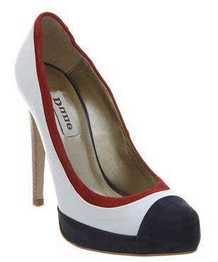 Обувки на ток бели с червен кант и син връх