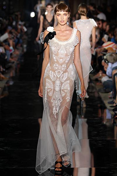 John Galliano секси рокля дълга прозрачна дантела