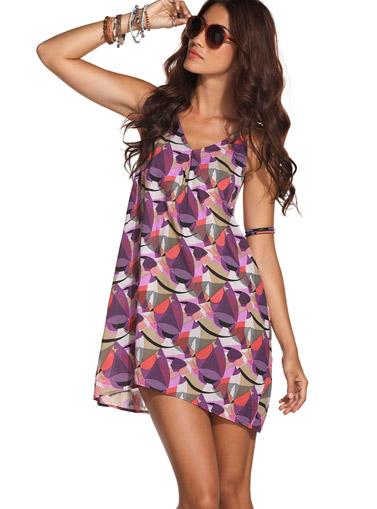 Шарена къса плажна рокля в лилаво