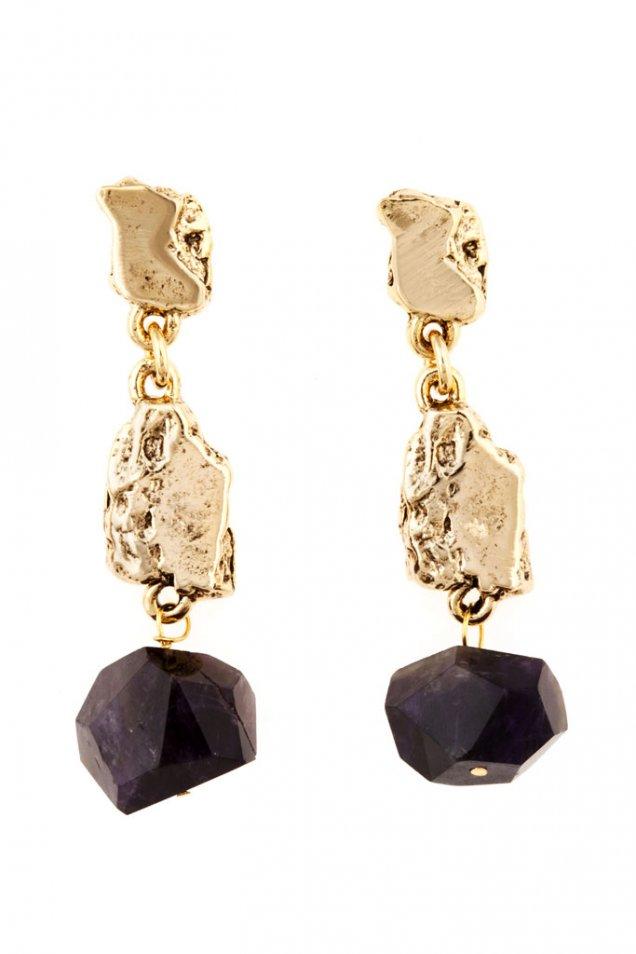Висящи обеци сегменти с груба обработка злато и аметист Kara Ross есен 2012