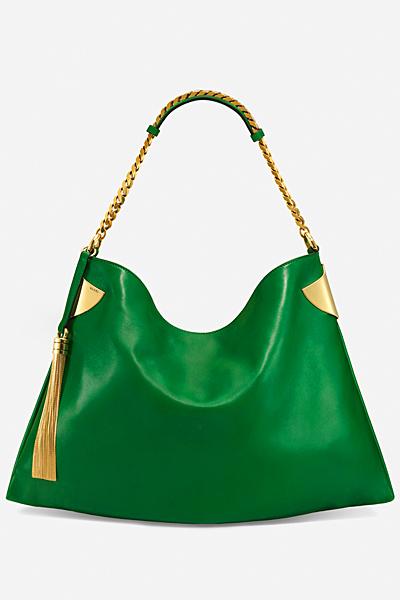 Голяма кожена зелена чанта Gucci за Пролет-лято 2012