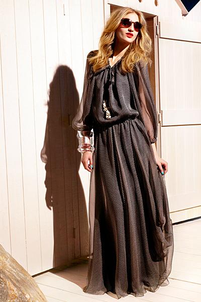Макси рокля на миниатюрни точки набрана в кръста Dior ваканционна колекция 2012