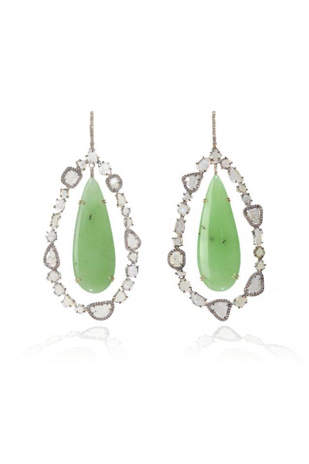 Нежни висящи обеци с необработени камъни зелен и бели Kimberly McDonald