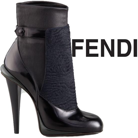 Елегантни боти над глезена черна кожа и лак на ток Fendi есен 2012