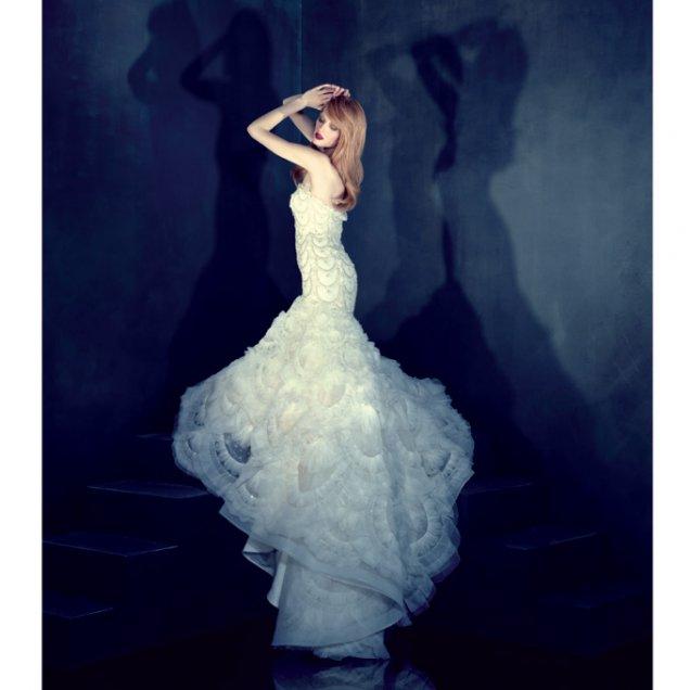 Винтидж арт-деко булчинска рокля с ресни органза от Lazaro