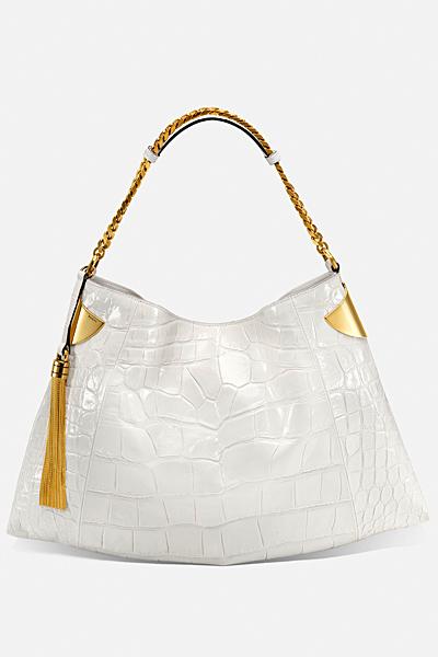 Голяма бяла чанта със златен пискюл Gucci за Пролет-лято 2012