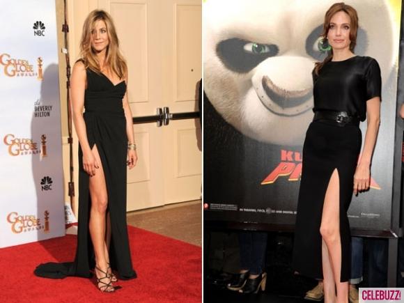 Анджелина Джоли и Дженифър Анистън с дълги черни рокли