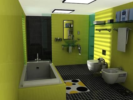 Модерна баня със свежи зелени стени, черен под и бели модули