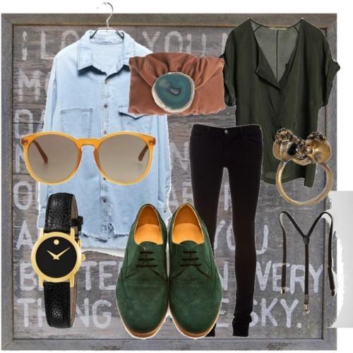 Тоалет дънки-клин и тютюнево зелен топ и обувки с връзки