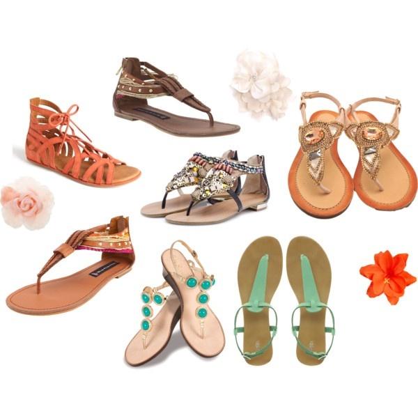 Цветни равни сандали - каишки, мъниста и камъни