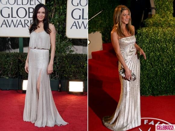 Анджелина Джоли и Дженифър Анистън в сиви дълги рокли