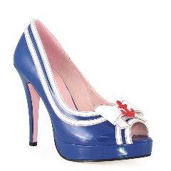 Сини лачени обувки на ток отворени с бели ленти