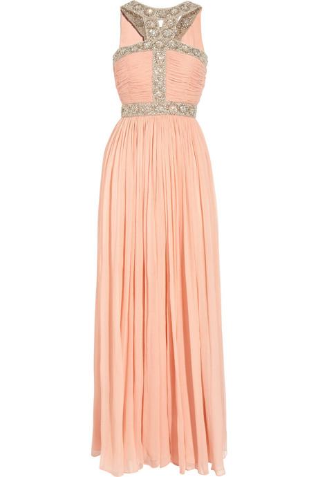 Дълга бонбонено розова рокля без ръкави украсена с колани от камъни Rachel Gilbert