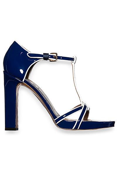 Сини лачени сандали на ток с бели кантове Marni 2012