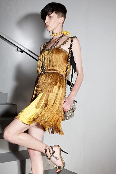 Златиста рокля ресни къса Ваканционна колекция Lanvin 2012