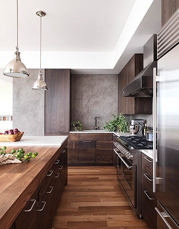 Модерна кухня тъмно дърво