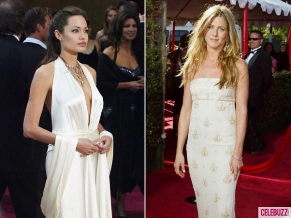 Анджелина Джоли и Дженифър Анистън в бели рокли