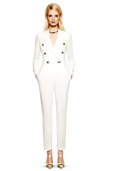 Бял ленен гащеризон с красиви копчета имитиращи сако Emilio Pucci ваканционна колекция 2012