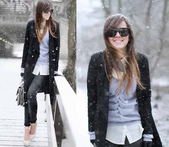 Зимен стайлинг за работа с риза, пуловер и дълго палто зима 2012