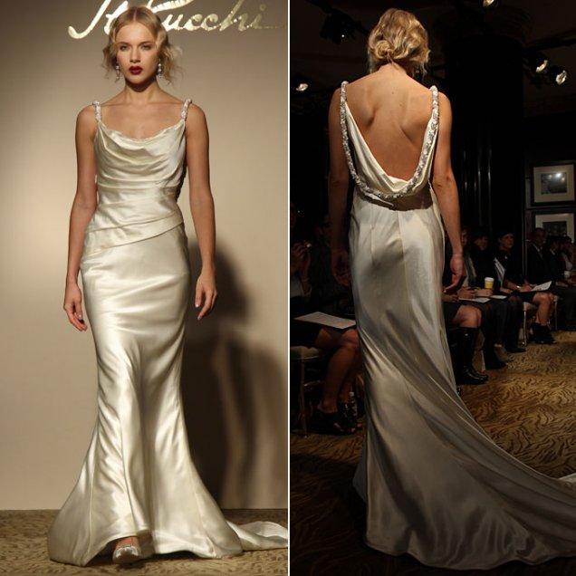Ретро копринена рокля с деколте лодка и гол гръб St Pucci