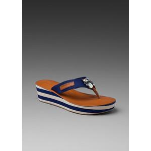 Juicy Couture чехли на платформа бяло и синьо райе