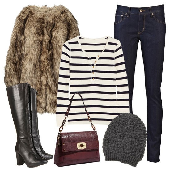 Стайлинг за зимата с късо палто с косъм зима 2012