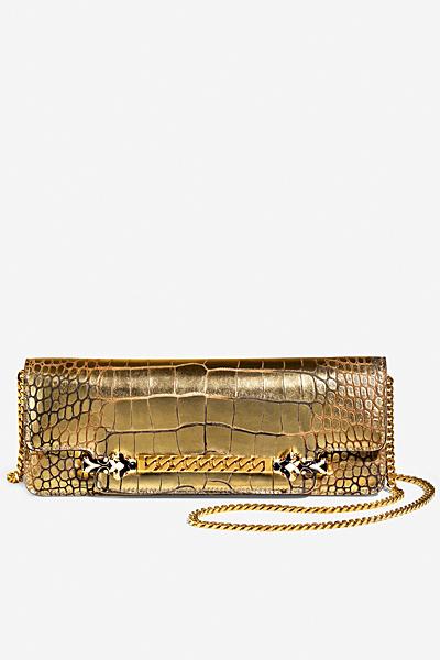 Продълговата малка чанта златиста кожа на люспи Gucci за Пролет-лято 2012