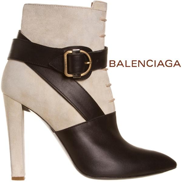 Ултра стилни боти Balenciaga бежов набук и кафява кожа остри с катарама на ток