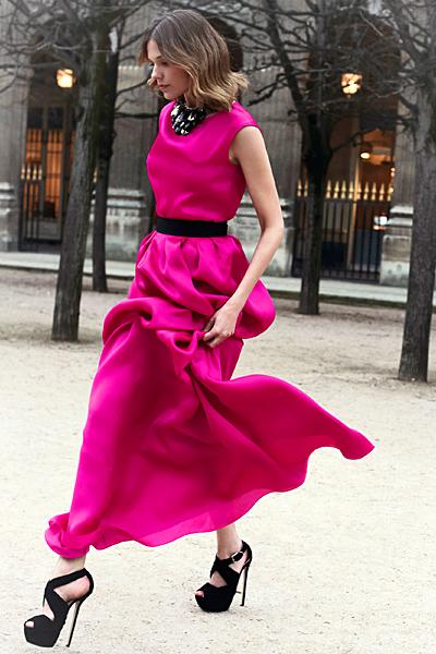 Рокля дълга циклама Dior Предесенна колекция 2012