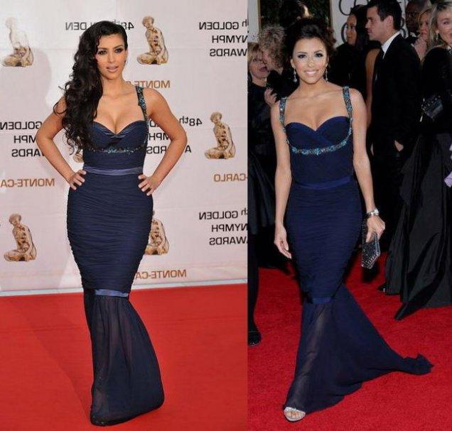 Ким Кардашиян като Ева Лонгория с рокля на Унгаро