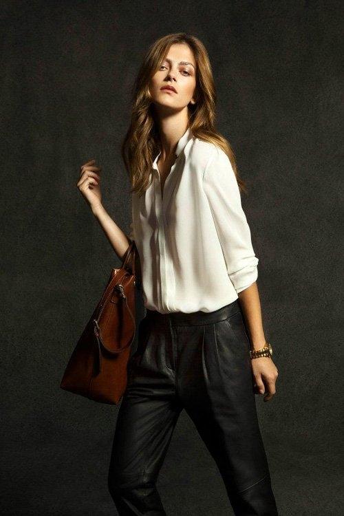 Кожен панталон с басти и бяла свободна риза Massimo Dutti esen 2012