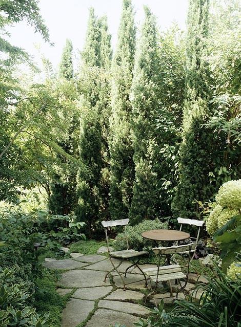 Зелена градина с редени камъни и кипра масичка