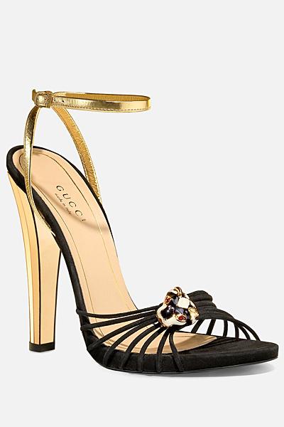 Сандали с черни каишки и камък Gucci Лято 2012