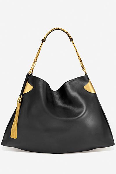 Голяма черна чанта гладка кожа Gucci за Пролет-лято 2012
