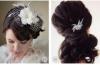 Сватбена прическа с хваната отзад коса преплетена