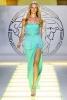 Дълга вечерна рокля цвят тюркоаз без презрамки Versace Пролет и лято 2012