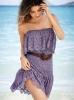 Дантелена плажна рокля в лилаво без презрамки