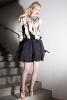 Черна къса разкроена пола и топ в кремаво с ресни Ваканционна колекция Lanvin 2012