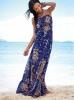 Макси плажна рокля в синьо без презрамки