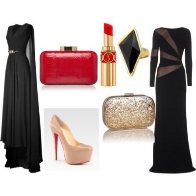 С какво да комбинирам официална черна рокля за 2015