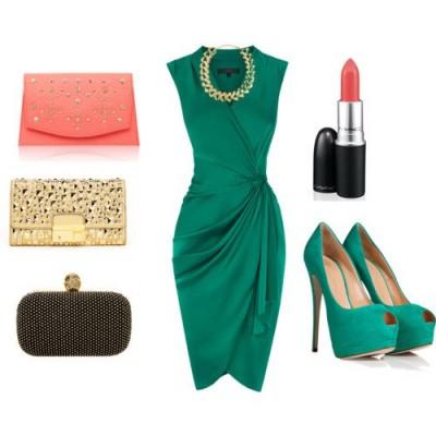 С какво да комбинирам зелена рокля за 2015