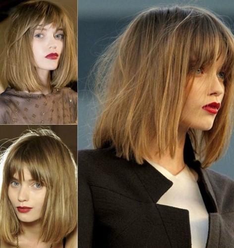 Къса коса с бретон за зима 2014