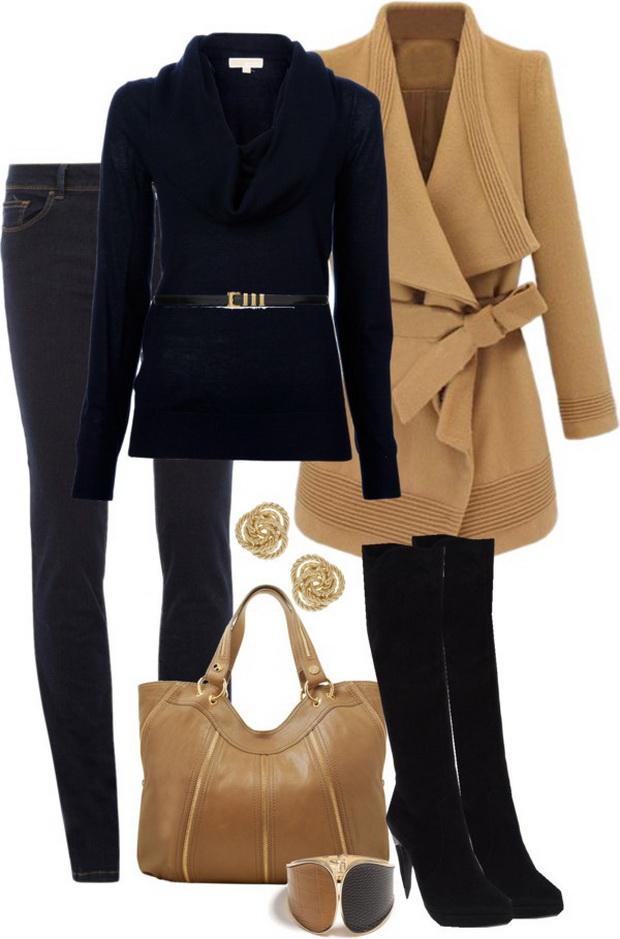 Елегантна комбинация с палто за зима 2014