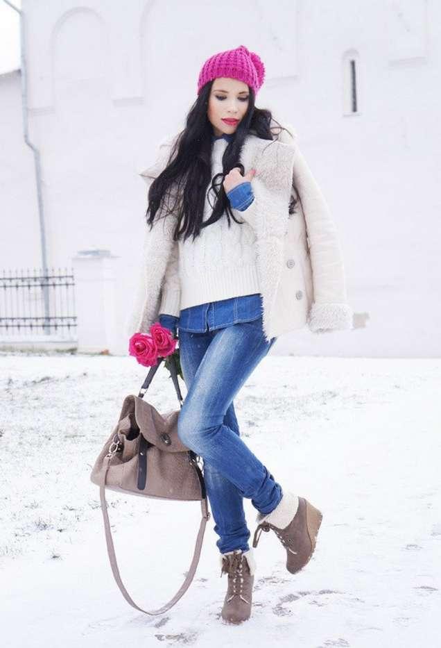 бяла палто с пухчета зима 2015