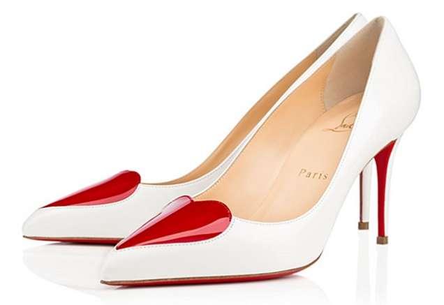 Бели обувки с червено сърце и среден ток 2015