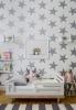Декорация за стена със сребърни звезди