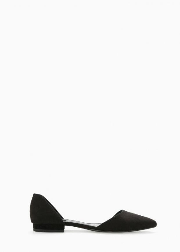Черни равни велурени обувки 2015